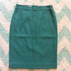 J CREW green wool no. 2 pencil skirt 0